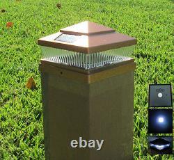 Set of 8 Garden Plastic Copper 6 X 6 Outdoor 5 LED 78Lumens Solar Post Cap Light