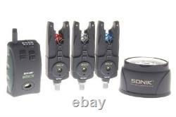 Sonik SKS 3 Bite Alarms & Receiver Set & Bivvy Light FREE POST