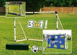 Target Shot And Rebound Trainer Football Goal Post Set Kids 3 In 1 6ft Net