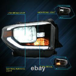 VLAND Black Housing LED Sequential Headlights Turn Lamp for 14-15 17-20 Tundra