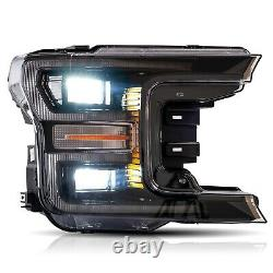 VLAND Modded Black FULL LED Headlights with Sequential Turn Signal for 18-20 F-150