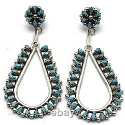 Zuni Handmade Turquoise Needle Point Post Earrings Set In Sterling Silver
